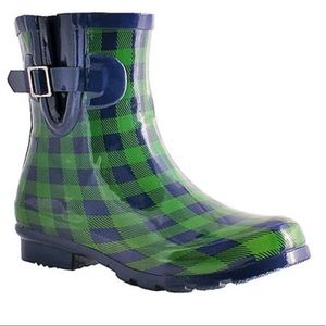 Navy & Green Gingham Droplet Ankle Rain Boot